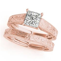 0.75 CTW Certified VS/SI Princess Diamond 2Pc Wedding Set 14K Rose Gold - REF-207Y5K - 32082