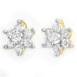 0.20 CTW Certified VS/SI Diamond Earrings 10K Yellow Gold - REF-20Y2K - 13110