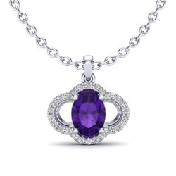 2 CTW Amethyst & Micro Pave VS/SI Diamond Necklace 10K White Gold - REF-29N6Y - 20619