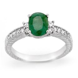 2.14 CTW Emerald & Diamond Ring 14K White Gold - REF-50A9X - 14169