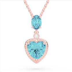 4 CTW Sky Blue Topaz & VS/SI Diamond Heart Necklace 10K Rose Gold - REF-26N2Y - 22527
