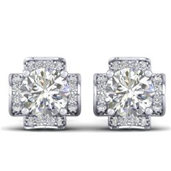 1.85 CTW Certified VS/SI Diamond Art Deco Stud Earrings 14K White Gold - REF-210W2F - 30276