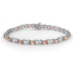 6.0 CTW Pink Tourmaline & Diamond Bracelet 18K White Gold - REF-132H5A - 14141