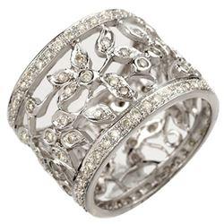 1.30 CTW Certified VS/SI Diamond Ring 14K White Gold - REF-103K3W - 10659