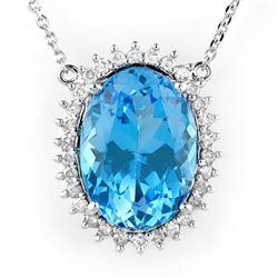 19.0 CTW Blue Topaz & Diamond Necklace 14K White Gold - REF-220A5X - 10532