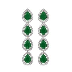 10.2 CTW Emerald & Diamond Halo Earrings 10K White Gold - REF-155N5Y - 41138