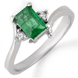 0.60 CTW Emerald & Diamond Ring 10K White Gold - REF-16K2W - 11370