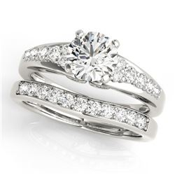 1.5 CTW Certified VS/SI Diamond Solitaire 2Pc Wedding Set 14K White Gold - REF-225W3F - 31718