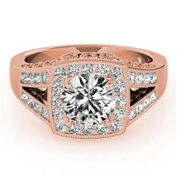 1.65 CTW Certified VS/SI Diamond Solitaire Halo Ring 18K Rose Gold - REF-608K9W - 27028
