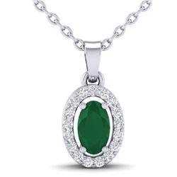0.51 CTW Emerald & Micro Pave VS/SI Diamond Necklace Halo 18K White Gold - REF-25A5X - 21319