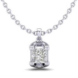 1.25 CTW Princess VS/SI Diamond Solitaire Art Deco Necklace 18K White Gold - REF-315N2Y - 37154