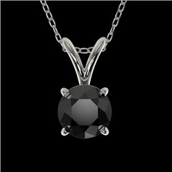 0.50 CTW Fancy Black VS Diamond Solitaire Necklace 10K White Gold - REF-16H5A - 33156