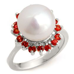 0.75 CTW Red Sapphire Ring 18K White Gold - REF-53W6F - 10360