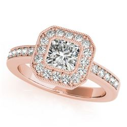 0.8 CTW Certified VS/SI Cushion Diamond Solitaire Halo Ring 18K Rose Gold - REF-161T3M - 27175