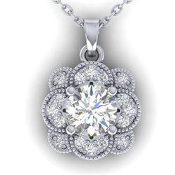 0.75 CTW I-SI Diamond Solitaire Art Deco Necklace 14K White Gold - REF-104F8N - 30516