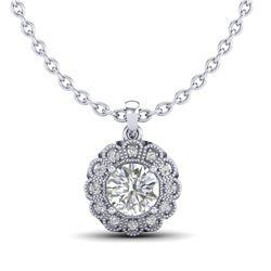 1.15 CTW VS/SI Diamond Solitaire Art Deco Stud Necklace 18K White Gold - REF-315M2H - 37055