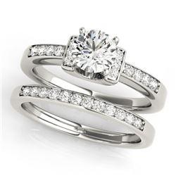 0.76 CTW Certified VS/SI Diamond Solitaire 2Pc Set 14K White Gold - REF-134K5W - 31583
