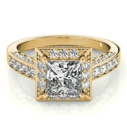 2.1 CTW Certified VS/SI Princess Diamond Solitaire Halo Ring 18K Yellow Gold - REF-309X6T - 27173
