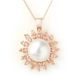 1.50 CTW Yellow Sapphire & Pearl Necklace 14K Rose Gold - REF-51K6W - 11740