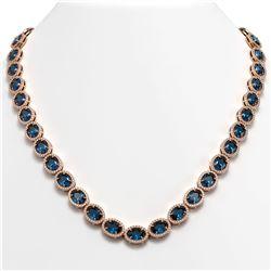 55.41 CTW London Topaz & Diamond Halo Necklace 10K Rose Gold - REF-576W2F - 40590