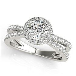 1.55 CTW Certified VS/SI Diamond Solitaire Halo Ring 18K White Gold - REF-402W9F - 26623