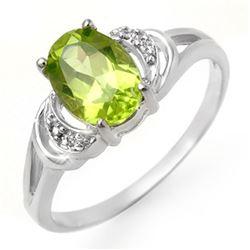 1.55 CTW Peridot & Diamond Ring 18K White Gold - REF-22K5W - 13465