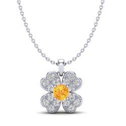 0.27 CTW Citrine & Micro Pave VS/SI Diamond Necklace 18K White Gold - REF-29N5Y - 20356