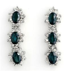 5.88 CTW Blue Sapphire & Diamond Earrings 14K White Gold - REF-105A5X - 11193