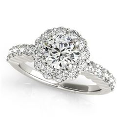 1.75 CTW Certified VS/SI Diamond Solitaire Halo Ring 18K White Gold - REF-408A4X - 26844