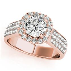 1.8 CTW Certified VS/SI Diamond Solitaire Halo Ring 18K Rose Gold - REF-435Y5K - 26791