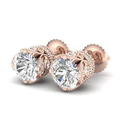 3 CTW VS/SI Diamond Solitaire Art Deco Stud Earrings 18K Rose Gold - REF-622M2H - 36861