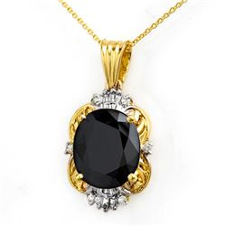 8.59 CTW Blue Sapphire & Diamond Pendant 14K Yellow Gold - REF-81W8F - 14102