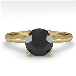 1.50 CTW Black Diamond Engagement Designer Ring 14K Yellow Gold - REF-51T3M - 38471