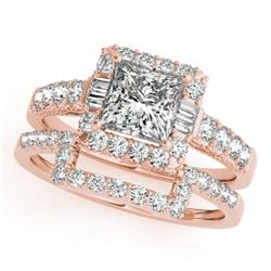 2.02 CTW Certified VS/SI Princess Diamond 2Pc Set Solitaire Halo 14K Rose Gold - REF-463X3T - 31395