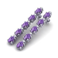 10.36 CTW Amethyst & VS/SI Certified Diamond Tennis Earrings 10K White Gold - REF-58Y2K - 29385