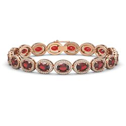 21.98 CTW Garnet & Diamond Halo Bracelet 10K Rose Gold - REF-247A6X - 40647