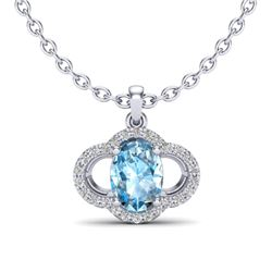 2 CTW Sky Blue Topaz & Micro Pave VS/SI Diamond Necklace 10K White Gold - REF-30M2H - 20625