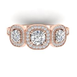 2.25 CTW Certified VS/SI Diamond 3 Stone Micro Halo Ring 14K Rose Gold - REF-236H2A - 30439