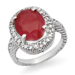8.0 CTW Ruby & Diamond Ring 14K White Gold - REF-92W4F - 14185