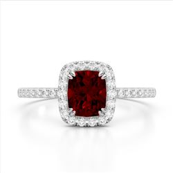 1.25 CTW Garnet & Micro Pave VS/SI Diamond Halo Ring 10K White Gold - REF-33N3Y - 22903