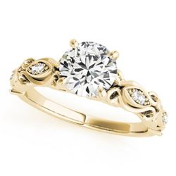 0.85 CTW Certified VS/SI Diamond Solitaire Antique Ring 18K Yellow Gold - REF-196F8N - 27272