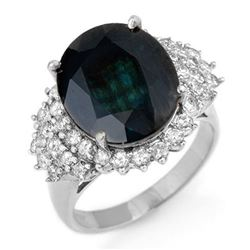 9.88 CTW Blue Sapphire & Diamond Ring 18K White Gold - REF-156H4A - 12979