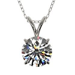 1.25 CTW Certified H-SI/I Quality Diamond Solitaire Necklace 10K White Gold - REF-240A2X - 33201