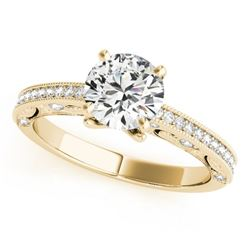 1.25 CTW Certified VS/SI Diamond Solitaire Antique Ring 18K Yellow Gold - REF-378W2F - 27380