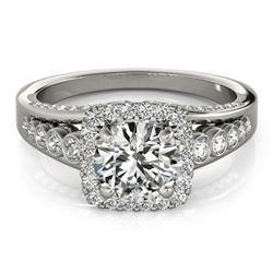 1.5 CTW Certified VS/SI Diamond Solitaire Halo Ring 18K White Gold - REF-249W6F - 26940