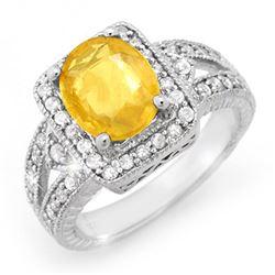 3.55 CTW Blue Sapphire & Diamond Ring 14K White Gold - REF-94X5T - 14368