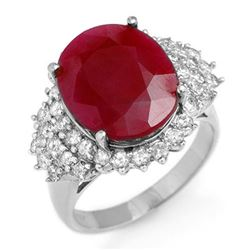8.32 CTW Ruby & Diamond Ring 18K White Gold - REF-180K2W - 12852