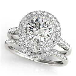 1.52 CTW Certified VS/SI Diamond 2Pc Wedding Set Solitaire Halo 14K White Gold - REF-167A6X - 30897