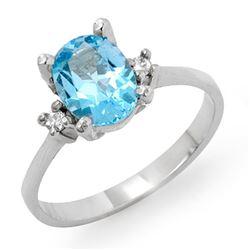 1.53 CTW Blue Topaz & Diamond Ring 10K White Gold - REF-22X2T - 12395