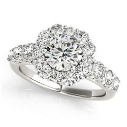 2.9 CTW Certified VS/SI Diamond Solitaire Halo Ring 18K White Gold - REF-634Y8K - 26269